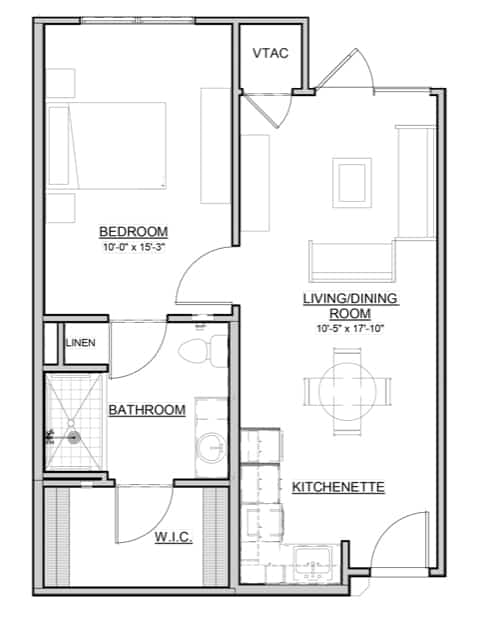 Birch – 1BR / 1BA – 602 Sq. Ft.
