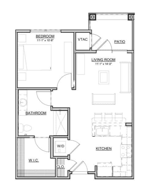 Dogwood – 1BR / 1BA – 632 Sq. Ft.