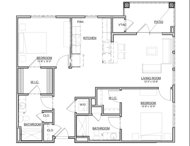 Holly – 2BR / 2BA – 1,073 Sq. Ft.