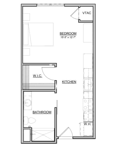 Magnolia – Studio – 473 Sq. Ft.