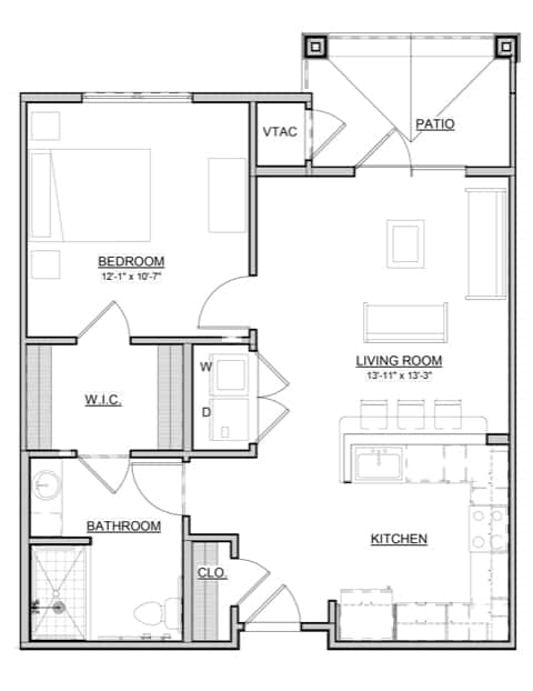 Mulberry – 1BR / 1BA – 759 Sq. Ft.
