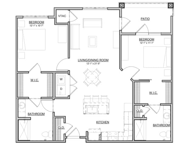 Palm – 2BR / 2BA – 1,102 Sq. Ft.