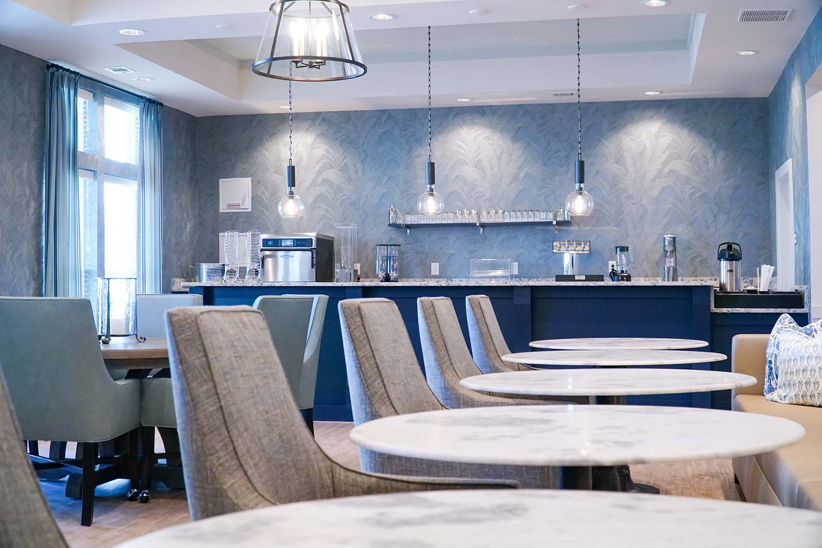 Bar lounge area at New Haven senior living community in Little River SC